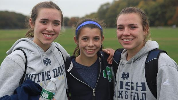 Aragon sisters Alexa and Danielle have carried on their father's running legacy at Notre Dame. Youngest sister Christina (center) has one more year of high school and says she is exploring all options for college. (Photo courtesy of Chuck Aragon)
