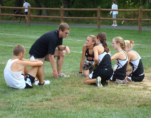 Coach Beiter with runners
